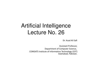 Artificial Intelligence Lecture No. 26