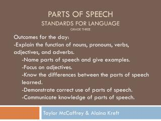 Parts of speech Standards for language Grade three