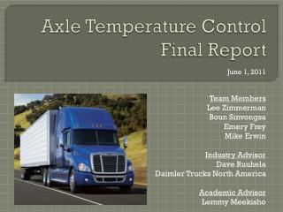 Axle Temperature Control Final Report