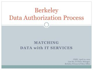 Berkeley  Data Authorization Process