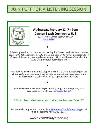 Wednesday , February 12, 7 – 9pm 	Cannon  Beach Community Hall