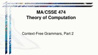 Context-Free Grammars, Part 2
