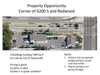 Property Opportunity Corner of 6200 S and Redwood