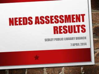 Needs Assessment Results