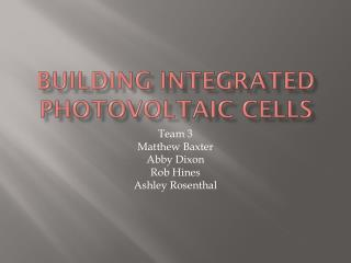 Building Integrated Photovoltaic Cells