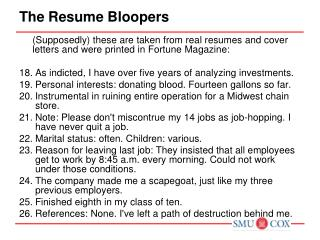 The Resume Bloopers