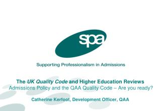 UK Quality Code Chapter B2 : Recruitment, selection and admission to higher education