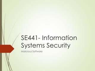 SE441- Information  Systems  Security