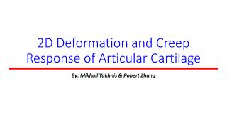 2D Deformation and Creep Response of Articular Cartilage