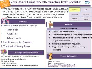 Health Literacy: Gaining Personal Meaning from Health Information
