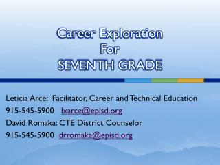 Career Exploration For SEVENTH GRADE