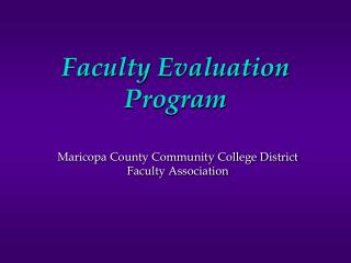 Faculty Evaluation Program