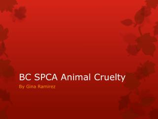 BC SPCA Animal Cruelty