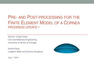 Pre- and Post-processing for the Finite Element Model of a Cornea Progress Update 1