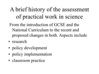A brief history of the assessment of practical work in science