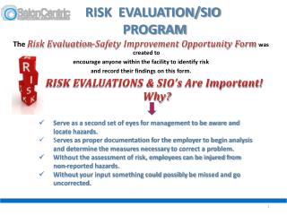 RISK  EVALUATION/SIO  PROGRAM