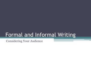 informal essay ppt An informal essay is meant to entertain the topic, therefore, should be personal, drawn from your own observations or experiences, and not too serious.