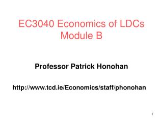 EC3040 Economics of LDCs Module B