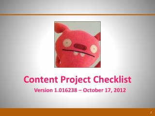 Content Project Checklist
