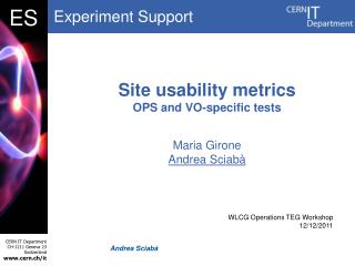 Site usability metrics OPS and VO-specific tests
