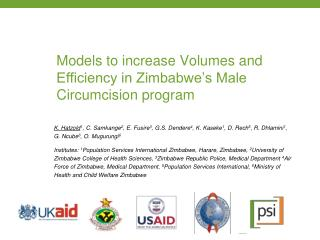 Models to increase Volumes and Efficiency in Zimbabwe's Male Circumcision program
