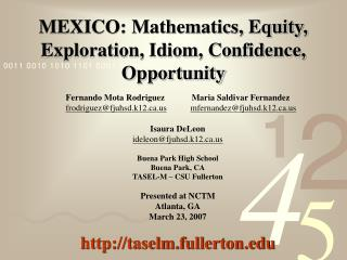 MEXICO: Mathematics, Equity, Exploration, Idiom, Confidence, Opportunity