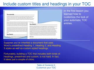 Include custom titles and headings in your TOC