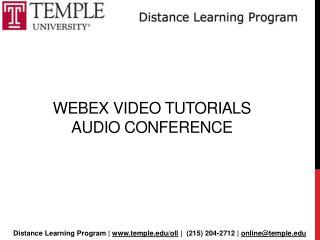 Webex  Video Tutorials  Audio conference