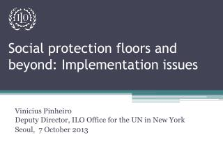 Social protection floors and beyond: Implementation issues