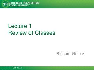 Lecture 1 Review of Classes