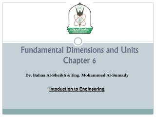 Fundamental Dimensions and Units Chapter 6