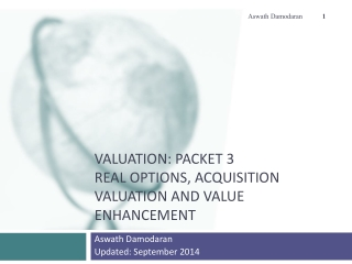 Valuation: Packet 3 Real Options, Acquisition Valuation and Value Enhancement