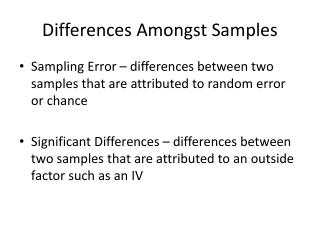 Differences Amongst Samples