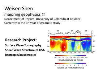 Research Project: Surface Wave Tomography Shear Wave Structure of USA (isotropic/anisotropic)