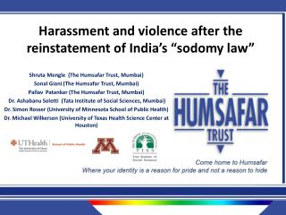 "Harassment and violence after the reinstatement of India's ""sodomy law"""