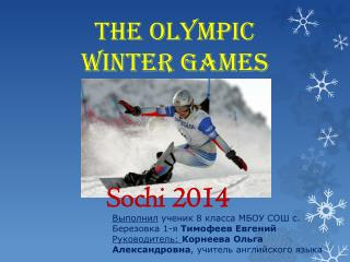 The Olympic  Winter  Games
