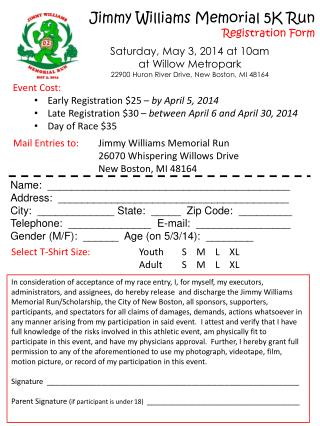 Jimmy Williams Memorial 5K Run Registration Form