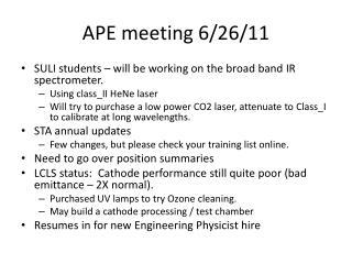 APE meeting 6/26/11