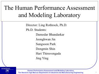 The Human Performance Assessment and Modeling Laboratory