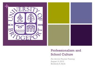 Professionalism and School Culture