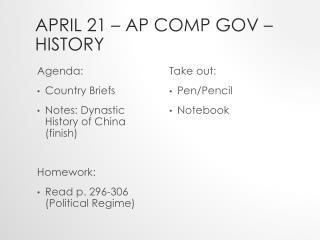 April  21  – AP Comp  Gov – History