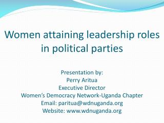 How do women attain leadership roles in political parties?