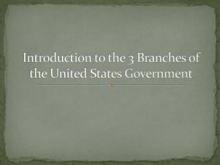 Introduction to the 3 Branches of the United States Government
