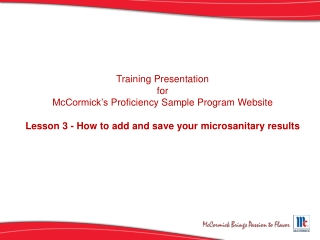 Lesson 3 - How to add and save your microsanitary results