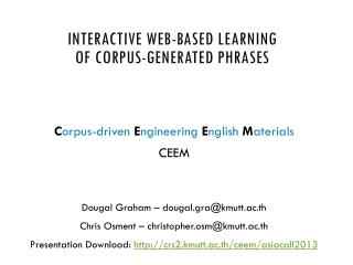 Interactive web-based learning of corpus-generated phrases
