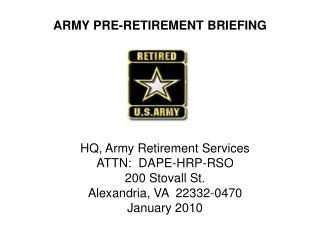 ARMY PRE-RETIREMENT BRIEFING