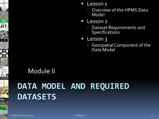 Data Model and Required Datasets