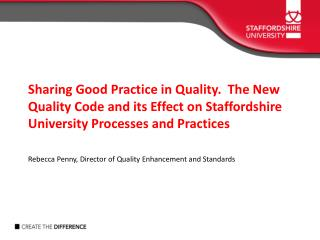 To provide an overview of recent developments in UK HE Quality Assurance landscape: