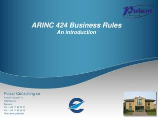 ARINC 424 Business Rules An introduction