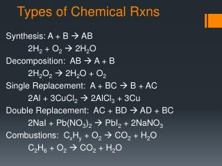 Types of Chemical Rxns